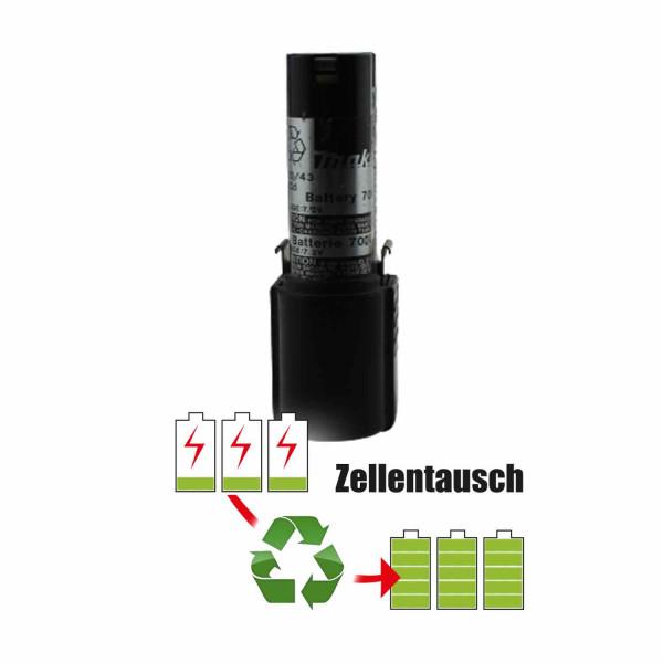 Akkureparatur - Zellentausch kompatibel für Makita Geräte 7,2V von 1,5Ah / 11Wh bis 2,0Ah / 14Wh