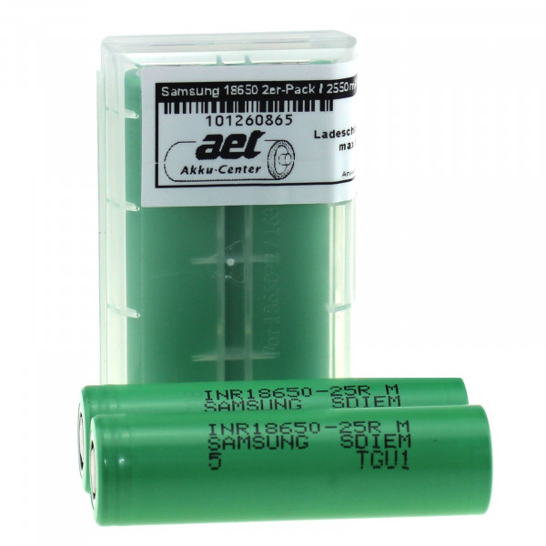 Akku-Zelle/n für E-Zigarette Samsung 2550mAh 1/2er-Pack - INR18650-25R