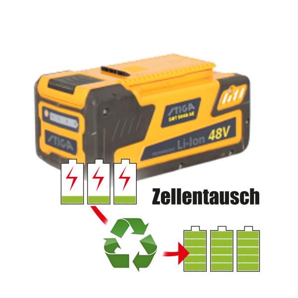 Akkureparatur - Zellentausch kompatibel für Stiga Rasenmäher 48,0V von 5,1Ah / 245Wh bis 6,9Ah / 331Wh