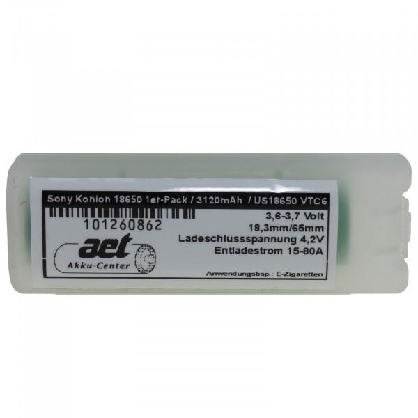 Akku-Zelle/n für E-Zigarette Sony 3120mAh 1/2er-Pack us18650vtc6