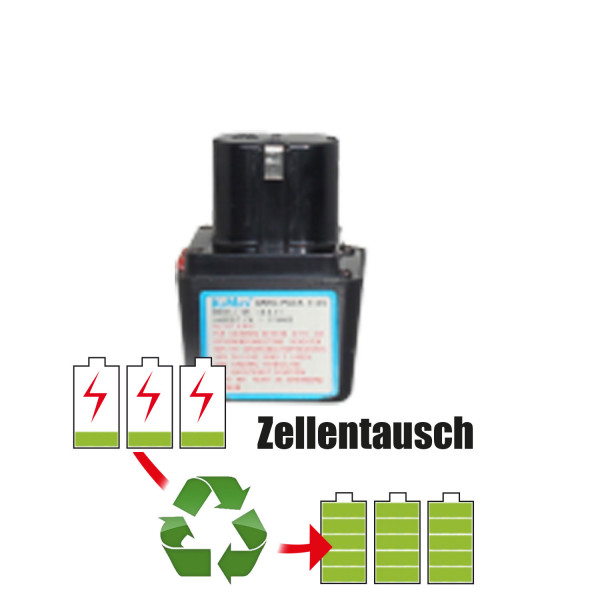 Akkureparatur - Zellentausch kompatibel für Kumas Geräte 7,2V von 1,5Ah / 11Wh bis 3,0Ah / 22Wh