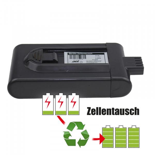 Akkureparatur - Zellentausch kompatibel für Dyson Staubsauger DG16 Akku 21,6 Volt Akku von 2,6Ah bis 3,0Ah