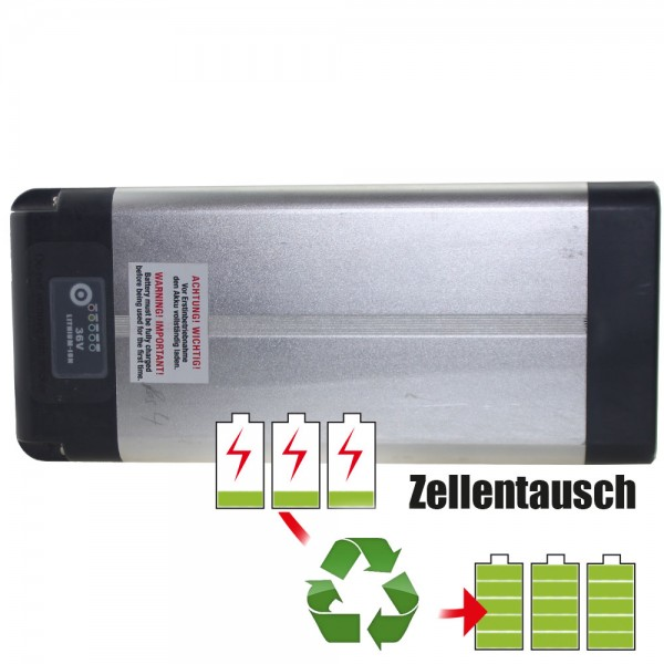 Akkureparatur - Zellentausch kompatibel für Panterra E-Bike Akku 36,0V von 10,4Ah/374Wh bis 13,8Ah/497Wh Gepäckträger-Version