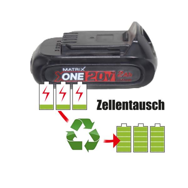 Akkureparatur - Zellentausch kompatibel für Matrix Geräte 20,0V von 2,6Ah / 51Wh bis 3,0Ah / 60Wh