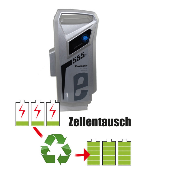 Akkureparatur - Zellentausch kompatibel für Panasonic E-Bike 36,0V von 18,2Ah / 655Wh bis 24,2Ah / 869Wh