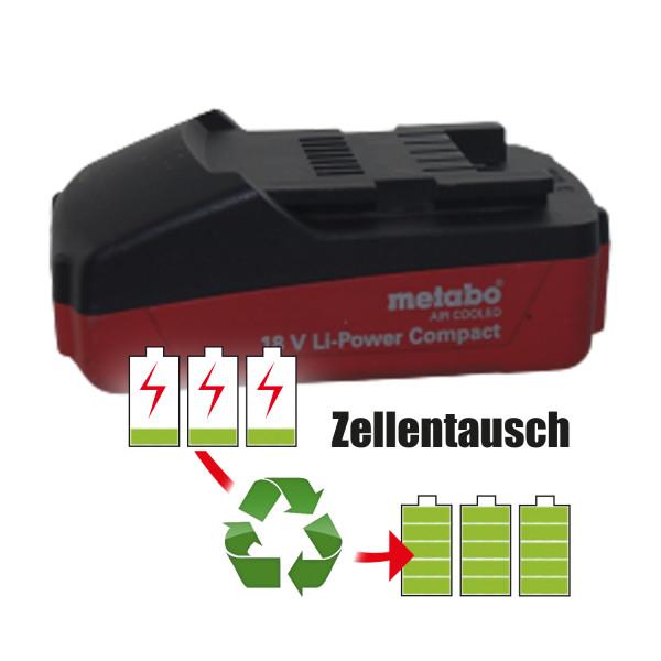 Akkureparatur - Zellentausch kompatibel für Metabo Schrauber 18,0V von 2,6Ah / 47Wh bis 3,0Ah / 54Wh