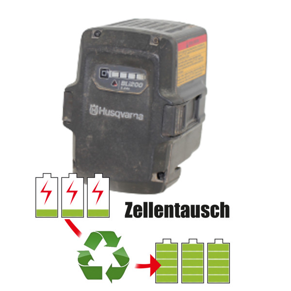 Akkureparatur - Zellentausch kompatibel für Husqvarna Geräte 36,0V von 5,1Ah / 184Wh bis 6,9Ah / 248Wh